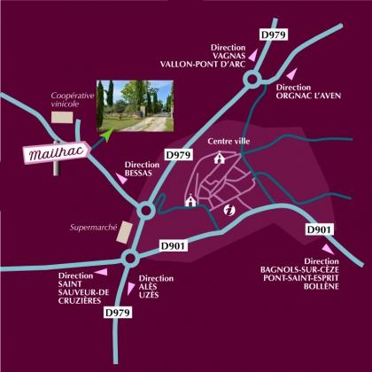 Plan d'accès aux chambres d'hôtes de la Grange de Mailhac à Barjac